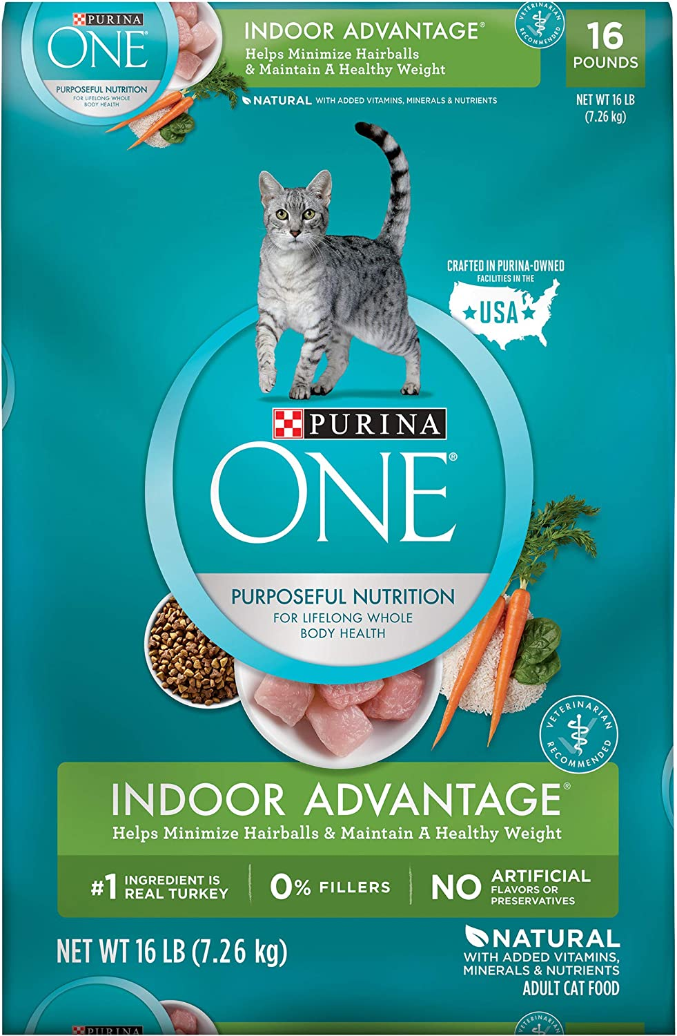 Purina ONE Hairball, Weight Control, Natural Dry Cat Food, Indoor Advantage - 16 lb. Bag : Dry Pet Food : Pet Supplies