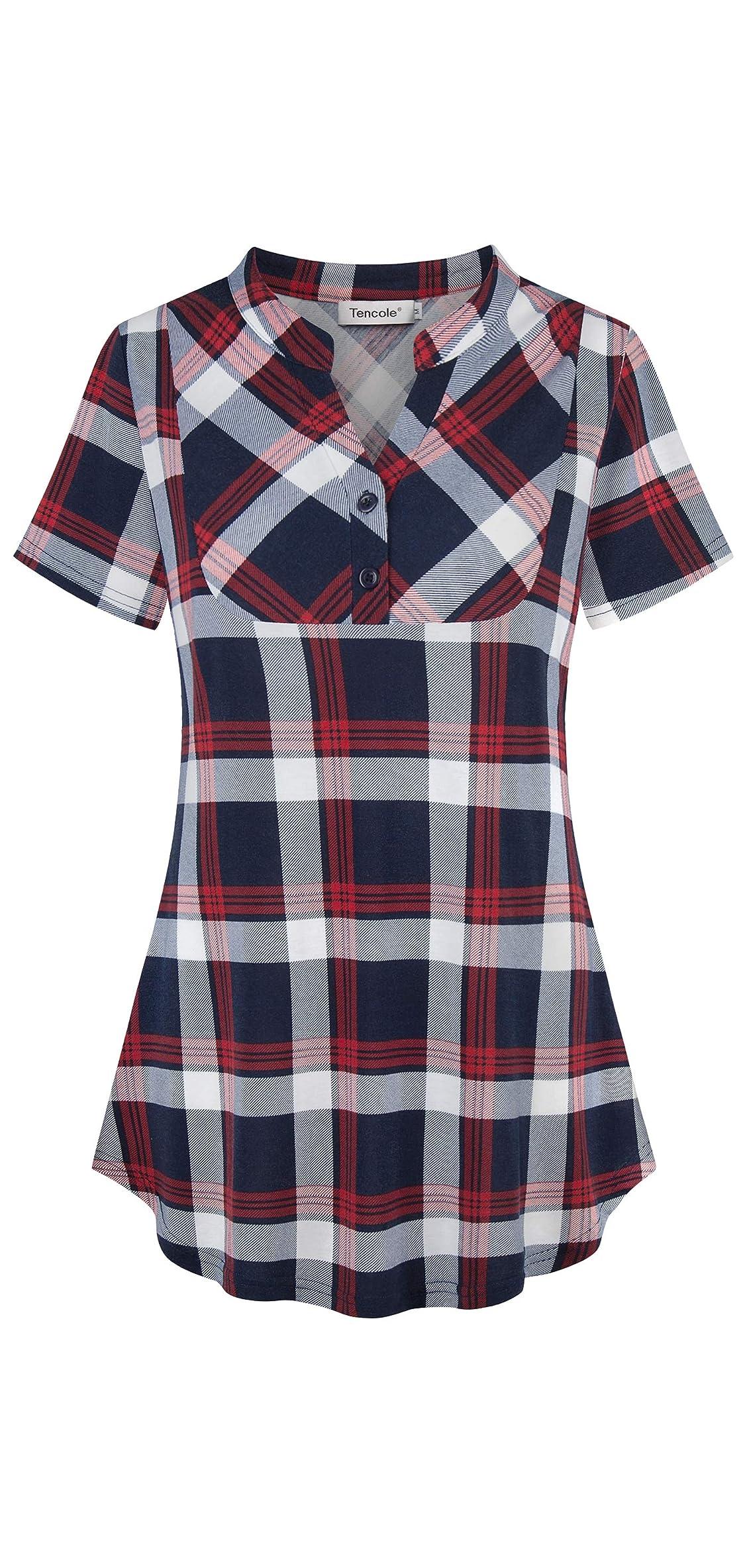 Womens Notch V Neck Plaid Tunic Shirts Short Sleeve Tops