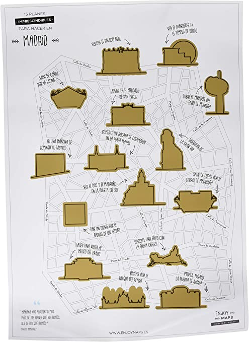 Enjoy Maps Lamina Rascable de Madrid, Papel Estucado, Multicolor, 40x8x8 cm: Amazon.es: Hogar