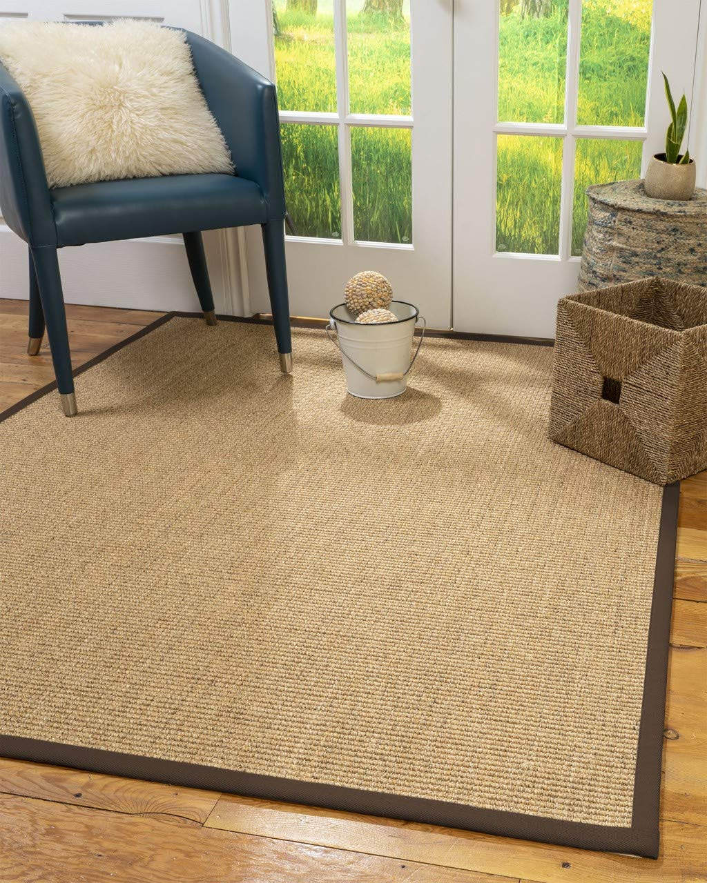 Natural Area Rugs 100 Natural Fiber Handmade Studio, Beige Sisal Rug, 6 x 9 Oval Fudge Border