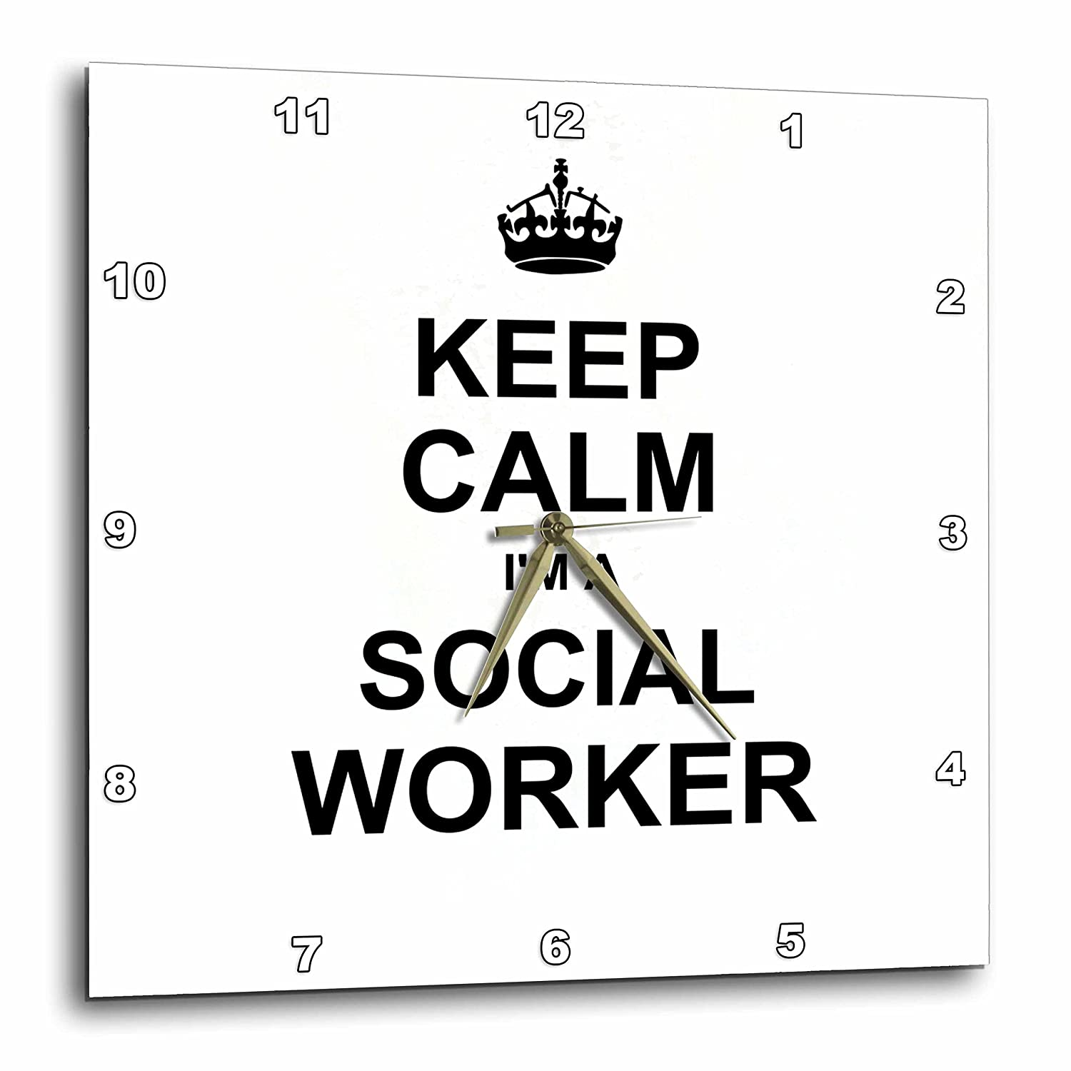 10 by 10-Inch 3dRose DPP/_194473/_1 Keep Calm Im a Social Worker Job Pride Funny Profession Work Gift Wall Clock