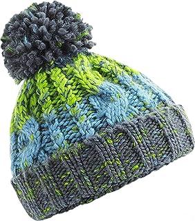 Strickmütze Damen Mütze Wintermütze Grobstrick Bunt Rippstrik Bommel-Mütze