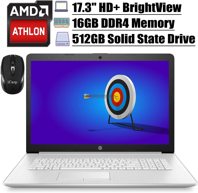 "2020 Latest HP 17 Flagship Laptop 17.3""HD+ BrightViewWLED Display AMD Athlon Gold 3150U 16GB DDR4 512GB SSD Webcam WiFi DVD HDMI Integrated AMD Radeon Graphics Win 10 + iCarp Wireless Mouse"