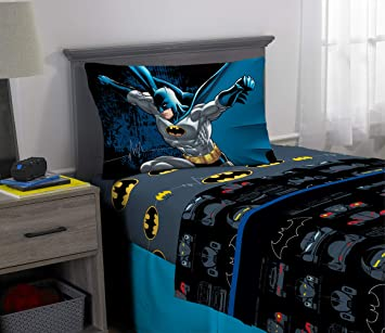 Warner Bros Batman Kids Bedding Super Soft Microfiber Sheet Set 3 Piece Twin Size Multi Color