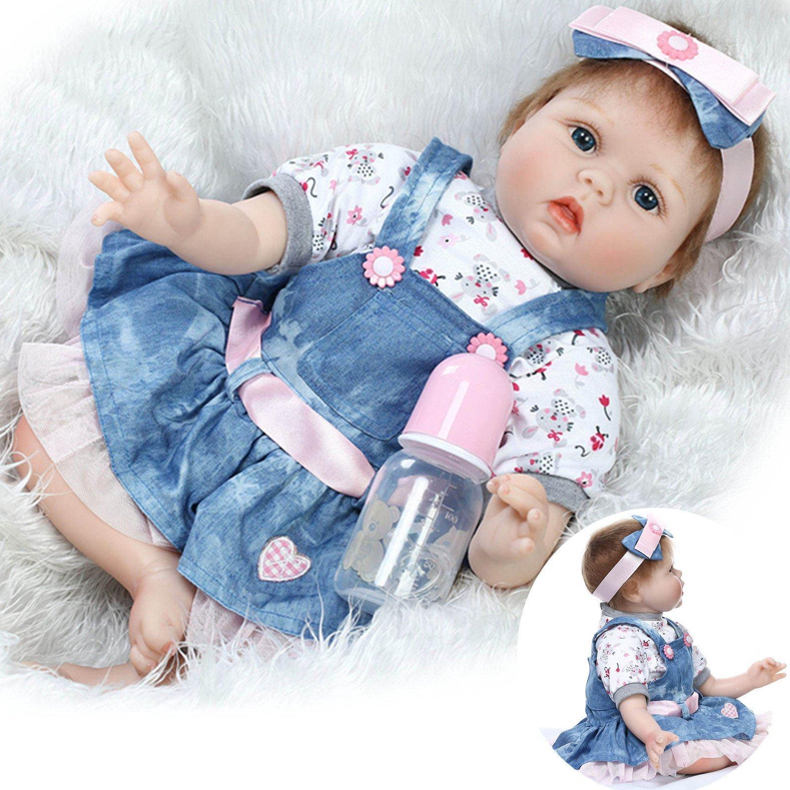 Reborn Baby Doll Girl 22inch 55cm Realistic Soft Vinyl Silicone Doll Real Baby Doll Denim Dress Baby Toys