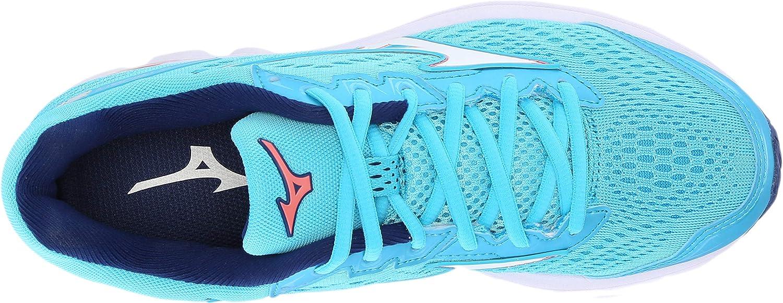 Mizuno Women's Wave Rider 22 Running Shoe Blue Atoll/Gerogia Peach