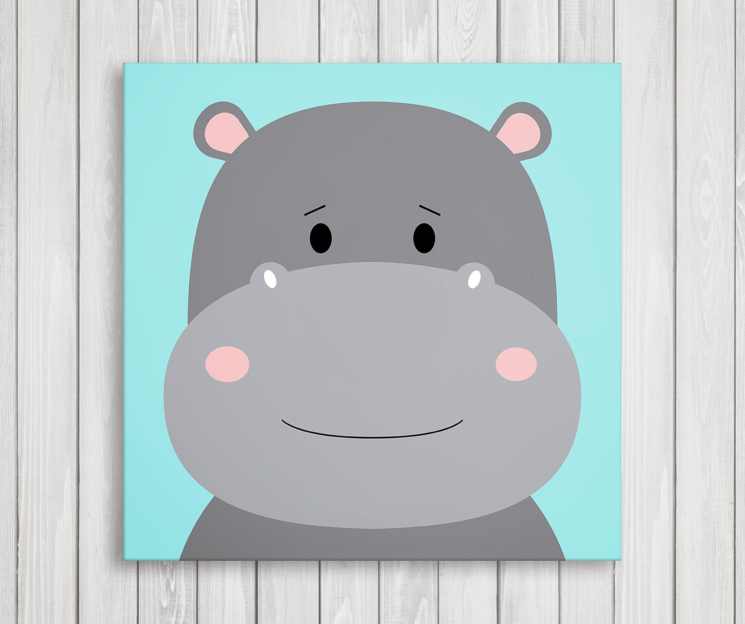 Cute Little Animals Nursery Wall Decor, Baby Room Canvas Art (11'' W x 11'' H, Hippo)