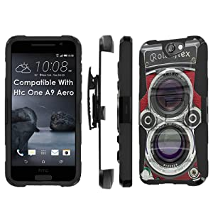 Htc [One A9] Armor Case [SlickCandy] [Black/Black] Heavy Duty Defender [Holster] [Kick Stand] - [RolleiFlex] for Htc One [A9 Aero]