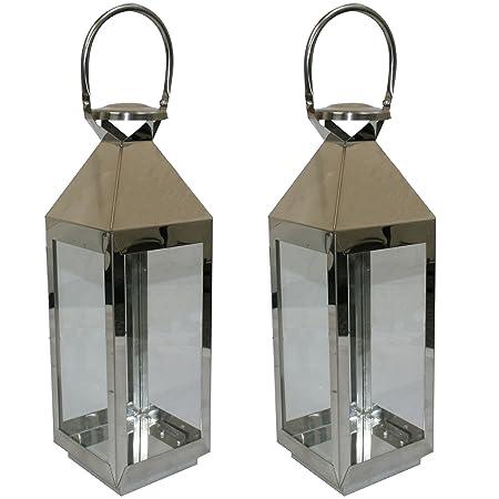 JVL Pair Of Stainless Steel Hampton Indoor/ Outdoor Candle Light Lanterns,  55 X 16