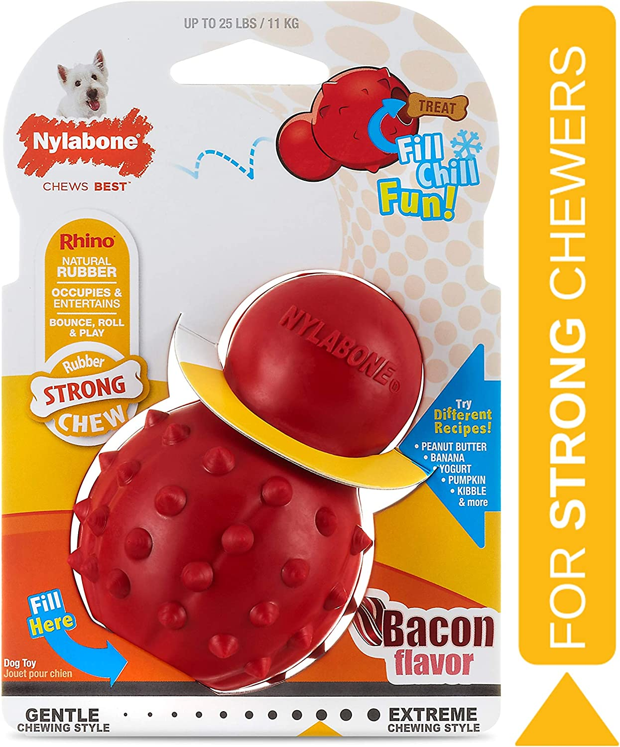 Pet Supplies Nylabone Strong Chew Cone Stuffable Chew Toy For Dogs Bacon Flavor Small Regular Up To 25 Ibs Amazon Com