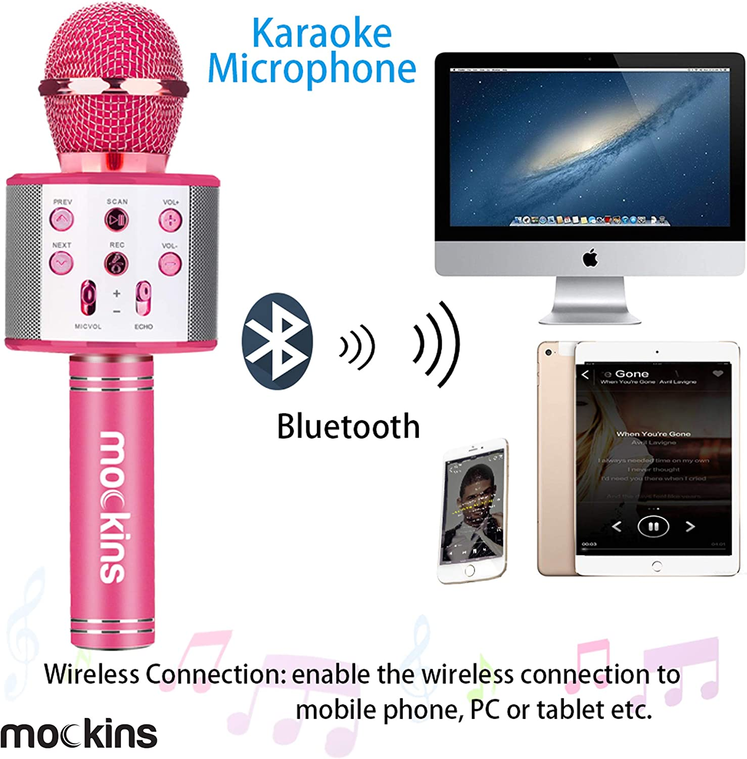 Compatible with Android /& iOS iPhone mockins Wireless Bluetooth Karaoke Microphone with Built in Bluetooth Speaker All-in-One Karaoke Machine Navy Color