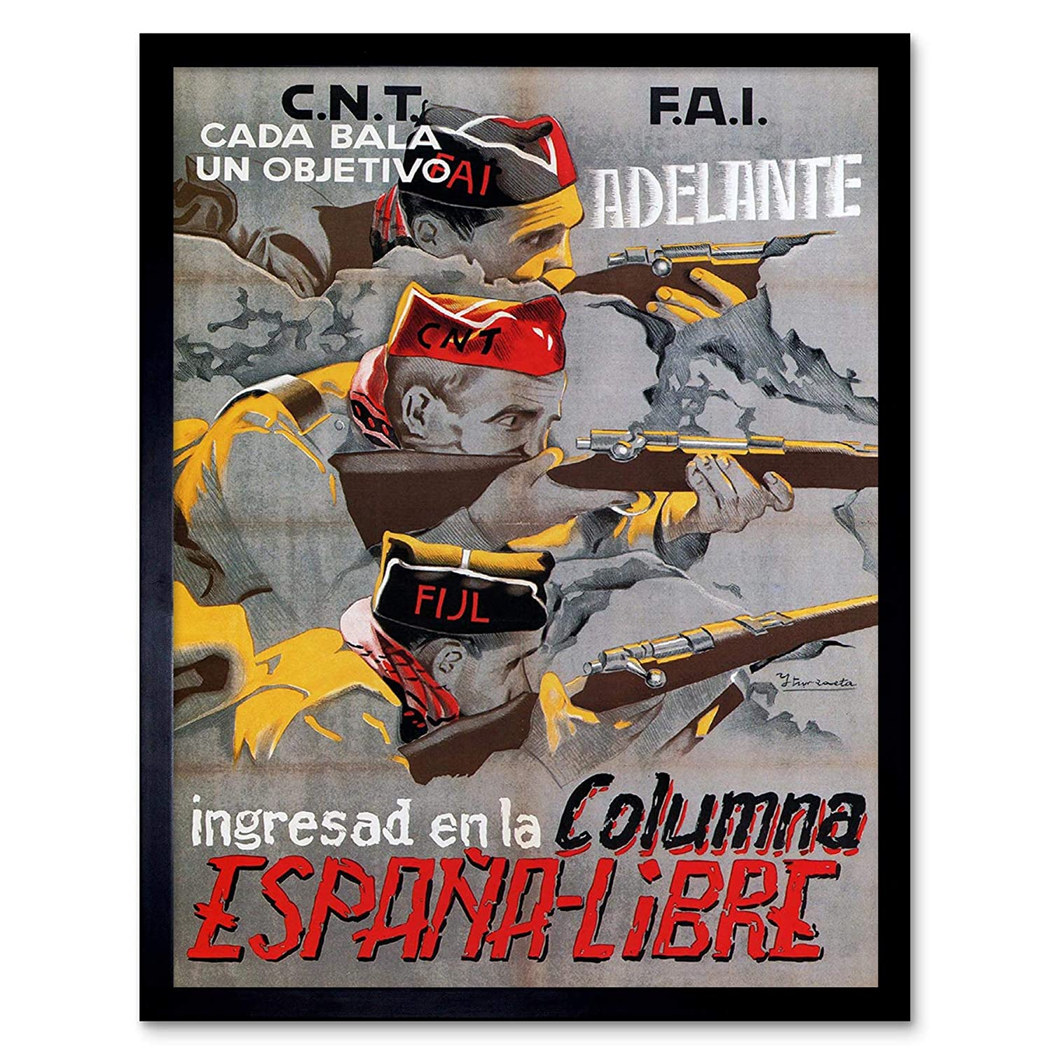 Amazon.com: Wee Blue Coo War Propaganda Spanish Civil Cnt FAI Republican Spain Vintage Unframed Wall Art Print Poster Home Decor Premium: Home & Kitchen