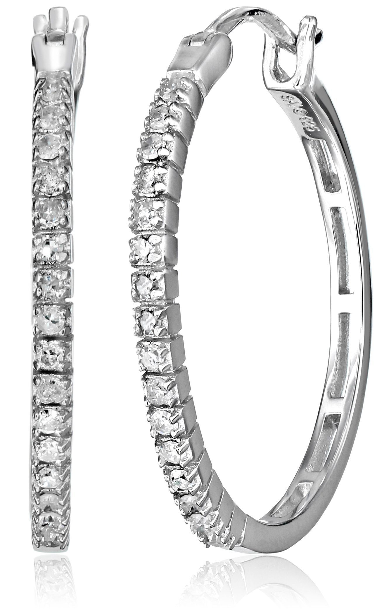 Sterling Silver Diamond Hoop Earrings (1/4 cttw, I-J Color, I3 Clarity)