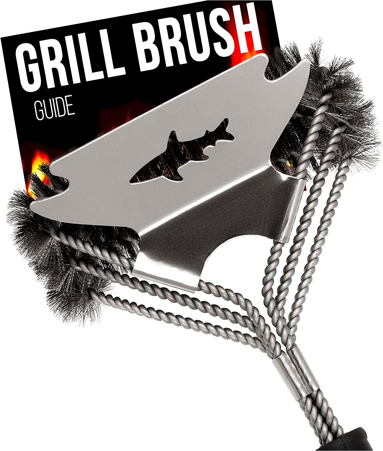 Grill Cleaner Wire Brush and Scraper - BBQ Cleaning Tool - Grill Grate Cleaner. New 2020 Model