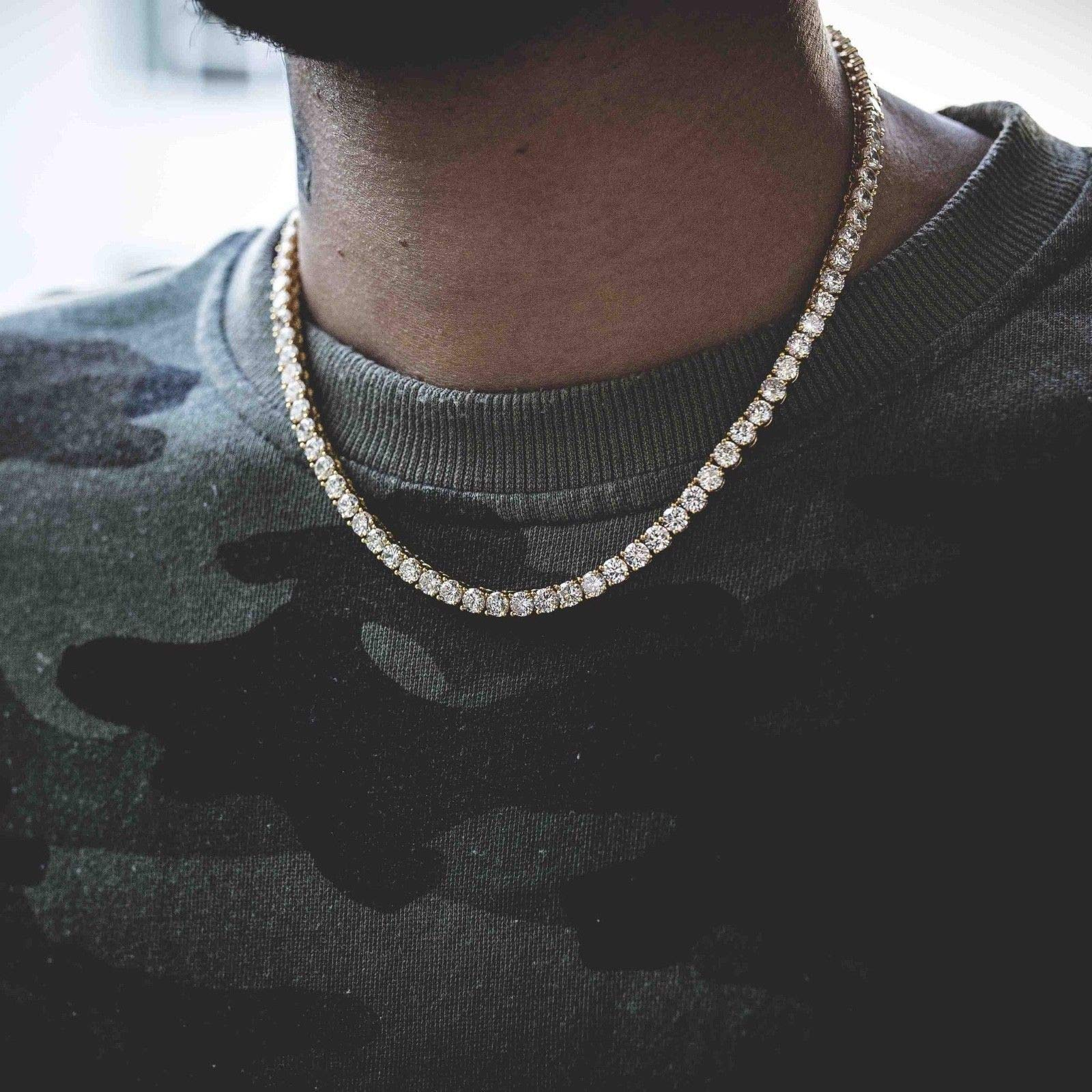 Harlembling Real Solid 925 Silver Men's Tennis Chain - 14k Gold Plated Or Natural Silver - 16-30'' - 3mm 4mm 5mm 6mm - Iced Out Hip Hop CZ Men's One Row Chain (18, 5mm Natural Silver) by Harlembling (Image #6)