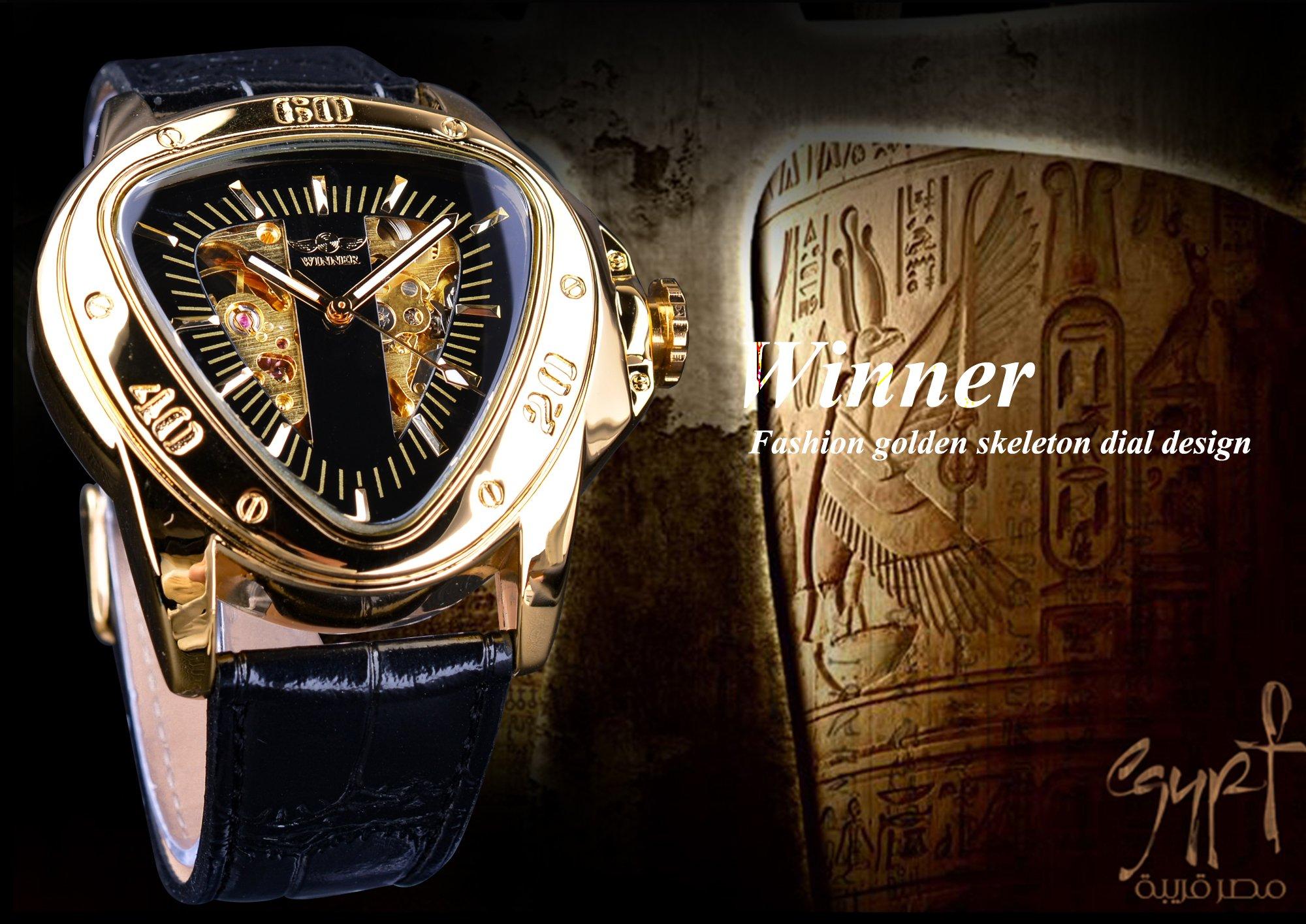 Winner Fashion Mechanical Wrist Watch Triangle Racing Dial Golden Skeleton Dial 5