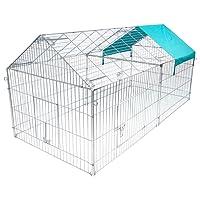 WOLTU Freilaufgehege 220*103*85 cm Freigehege mit Ausbruchsperre Hasen Kaninchen Nager mit Sonnerschutz Verzeinkt HT2067m2