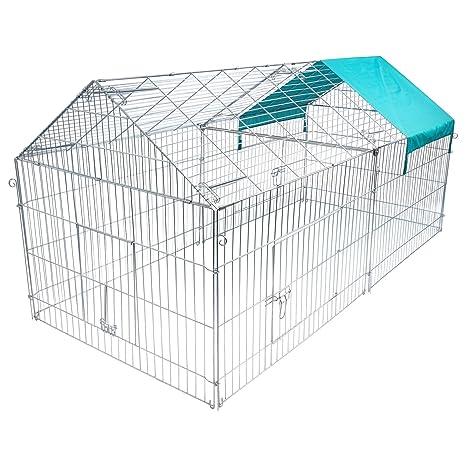 Woltu ht2067 m2 Gallinero Jaula Grande para conejos hámster animales recinto de metal con cubierta Protección