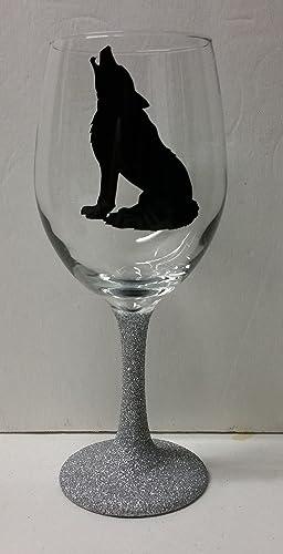 Amazon.com: Howling Wolf Glitter Stem Wine Glass | Birthday Gift ...