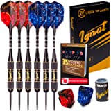 Ignat Games Steel Tip Darts Set - Professional Darts with Aluminum Shafts and Different Style Flights + Dart Sharpener + Case