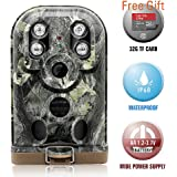 Wildlife Trail Camera Trap Ereagle Hunting Camera with Infrared Night Vision Waterproof IP68 HD 1080P 940nm IR LED Time Lapse Camouflage for Deer,Garden,Outdoor with 32G SD Card