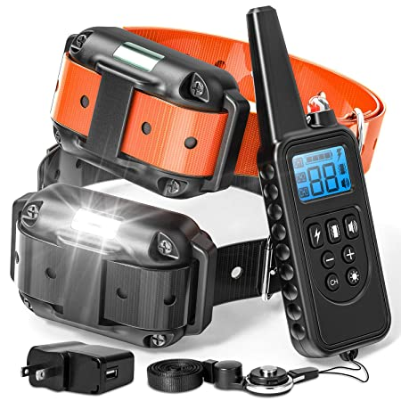 F-color Dog Training Collar, 865 Yards Shock Collar for Dogs with Remote for Large Medium Small Dogs, with Light Beep Vibration Shock, Waterproof and Rechargeable Dog Shock Collar for 2 Dogs