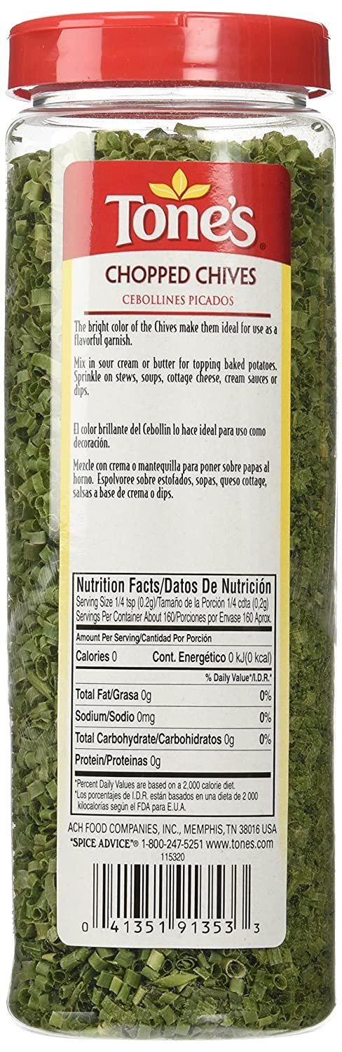 Amazon.com : Tones Chopped Chives - 1.12oz shaker : Chives Spices And Herbs : Grocery & Gourmet Food