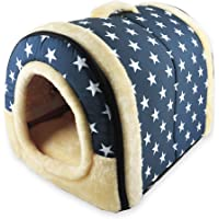 ANPI 2 in 1 Dog House Cat Igloo, Foldable Machine Washable Cat Bed Cave Non-Slip Soft Warm Pet Rabbit House Sofa with Detachable Cushion, 3 Sizes, Multicolour