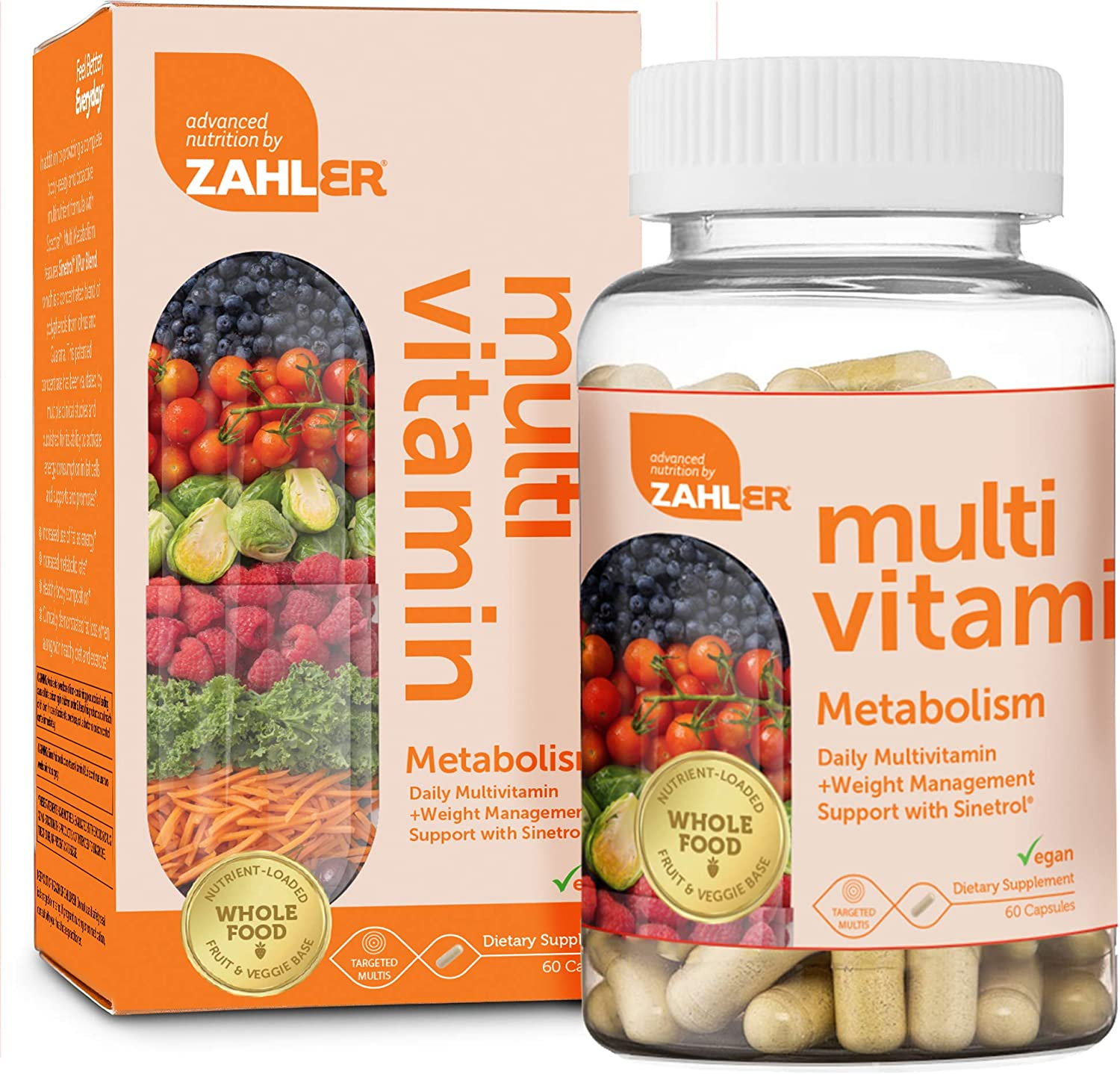 Zahler Multivitamin Metabolism, Daily Multivitamin +Weight Management Support, Multivitamin for Women and Men with Iron, Certified Kosher, 60 Capsules