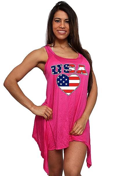 bcfe6cd486c91 Women s USA Flag Love   Pride Flare Dress Swimwear Cover-up  Fuchsia at  Amazon Women s Clothing store