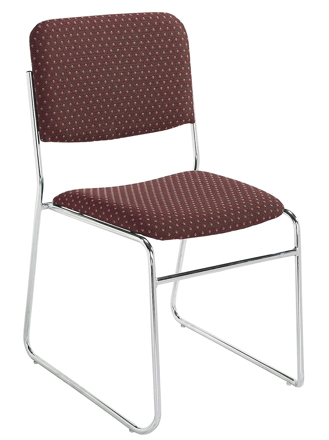 NPS 8668 Fabric-Upholstered Sled Base Signature Stack Chair, 300-Pound Weight Capacity, 19-Inch Length x 21-Inch Width x 33-Inch Height, Diamond Burgundy National Public Seating