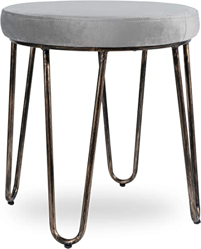 CANDIKO Grey Velvet Vanity Makeup Stool Chair