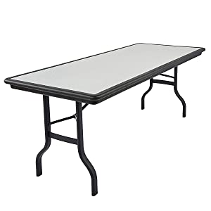 Iceberg ICE65137 IndestrucTable Folding Table with Black Legs and Top, Steel Reinforced Blow-Molded Plastic, 1500 lbs Load Capacity, 96