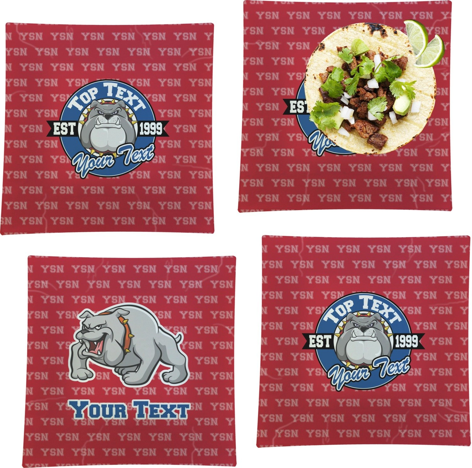 School Mascot Set of 4 Glass Square Lunch/Dinner Plate 9.5'' (Personalized)