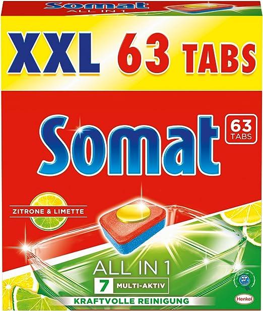 Somat Tabs 7 All in 1 - Pastillas para lavavajillas, aroma a lima ...