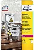 Avery Zweckform L4775-20 Wetterfeste Folien-Etiketten (A4, 20 Stück, 210 x 297 mm) 20 Blatt weiß