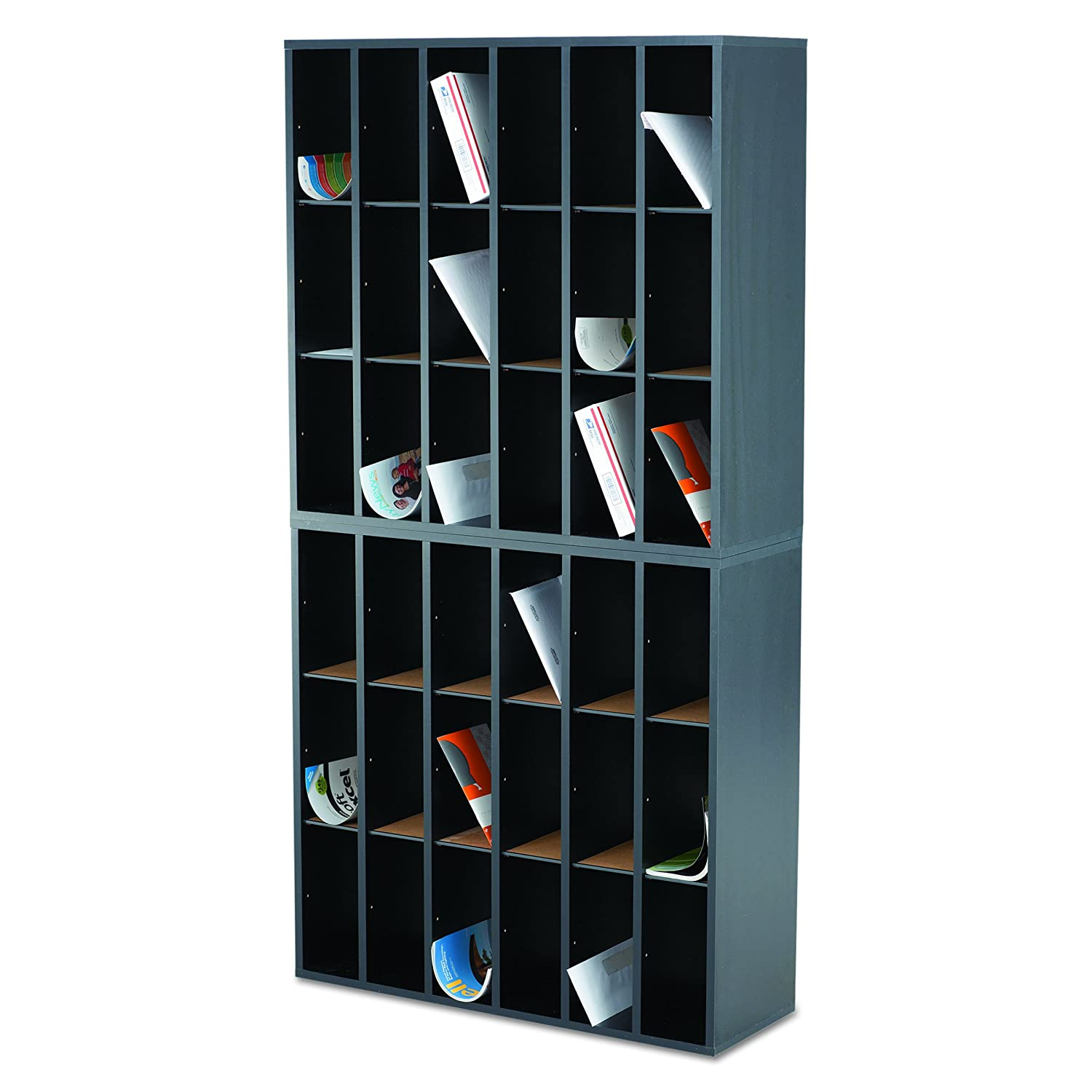 7981fe2ad Safco Products 7765BL Wood Mail Sorter 18 Compartment Black