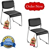 Majestic Metal Stackable Visitor Chair, Standard (Black, Majestic01)