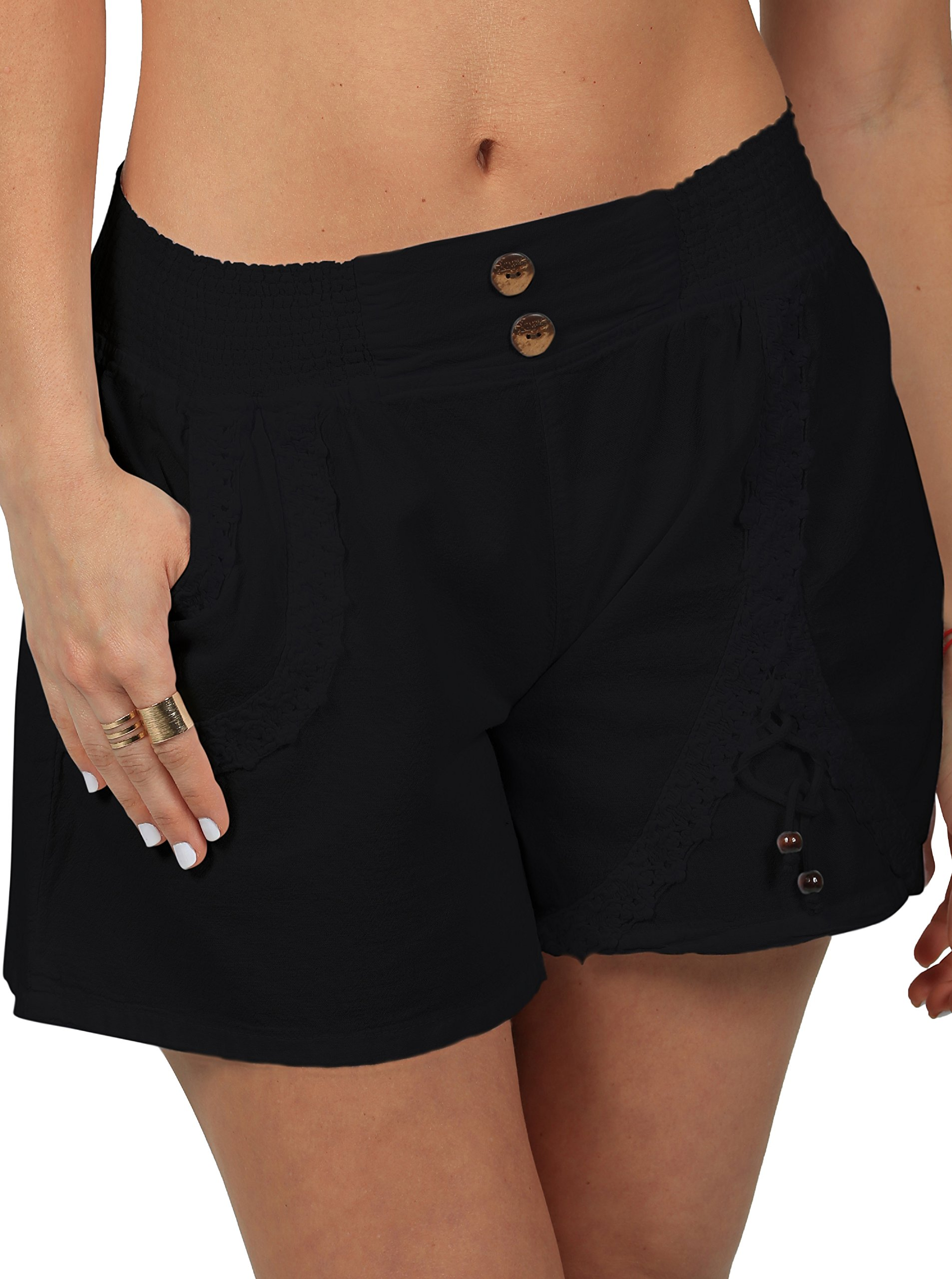 PURE COTTON Women's Cotton Casual Summer Shorts With Lace Embroidered Sexy Skirt Crochet (Black, Large)