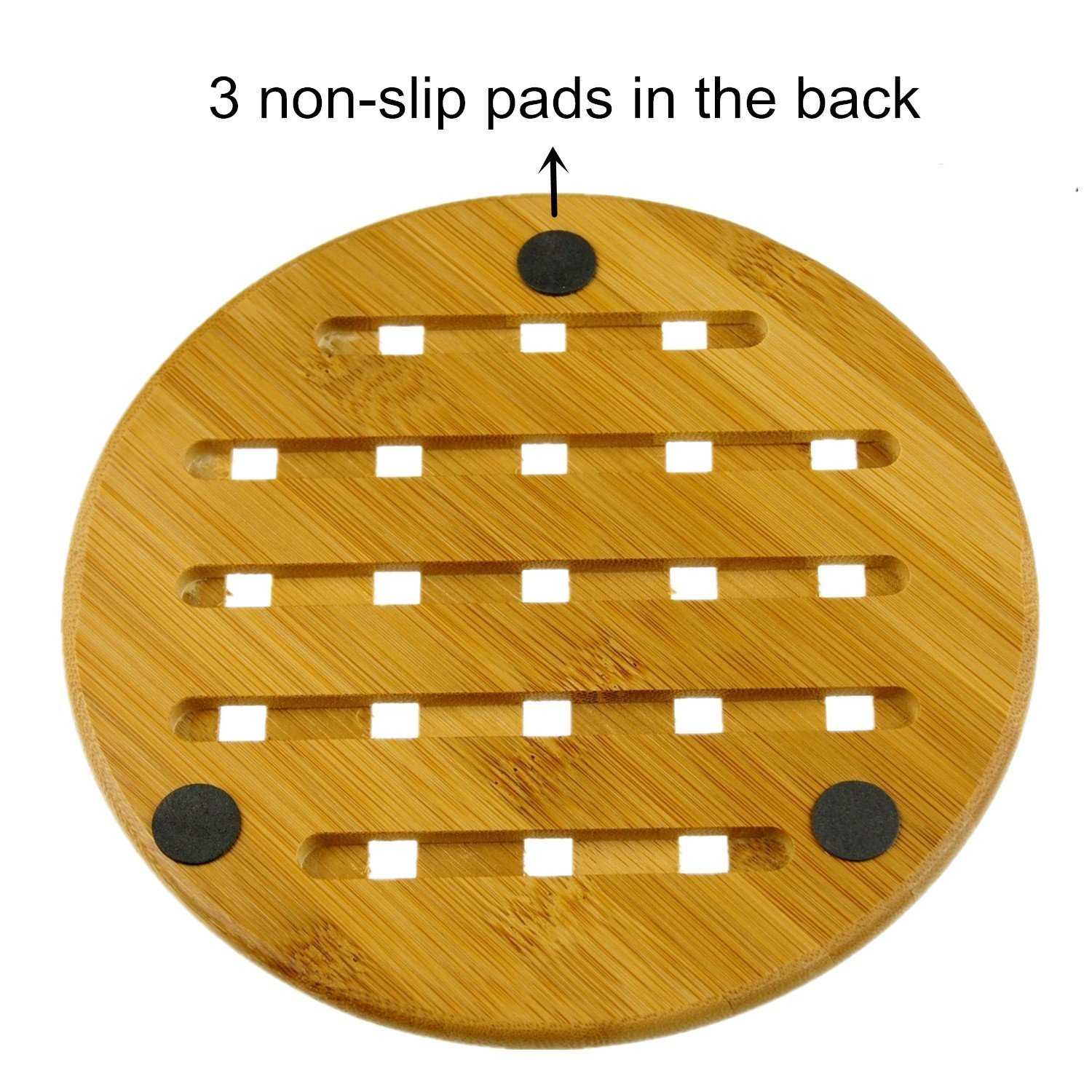 Weikai 11, Set of 4, Solid Bamboo Wood Trivets with Non-Slip Pads for Hot Dishes and Pot (7'' Round)