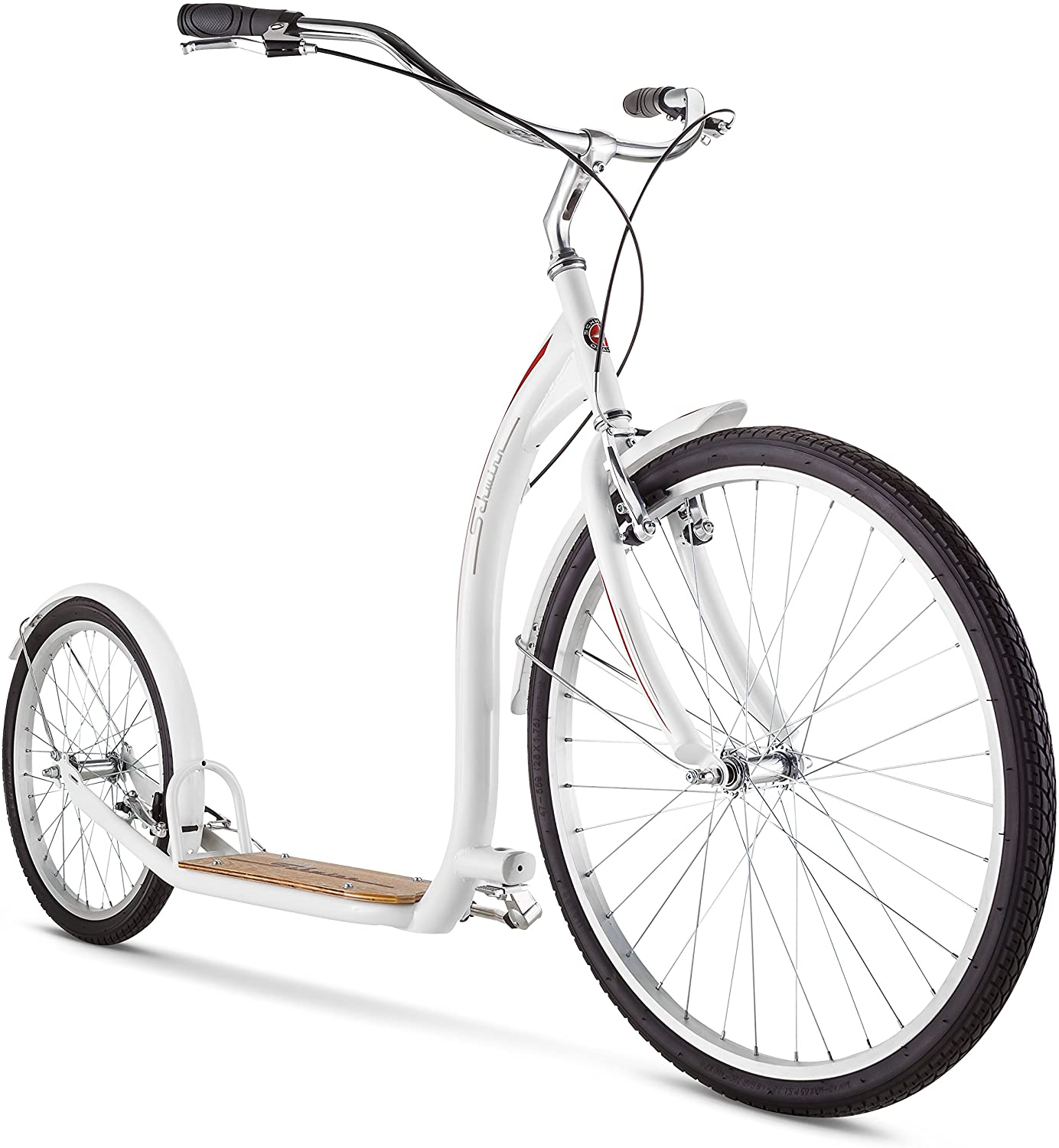 Schwinn Adult Shuffle Scooter with 26 Wheels, White