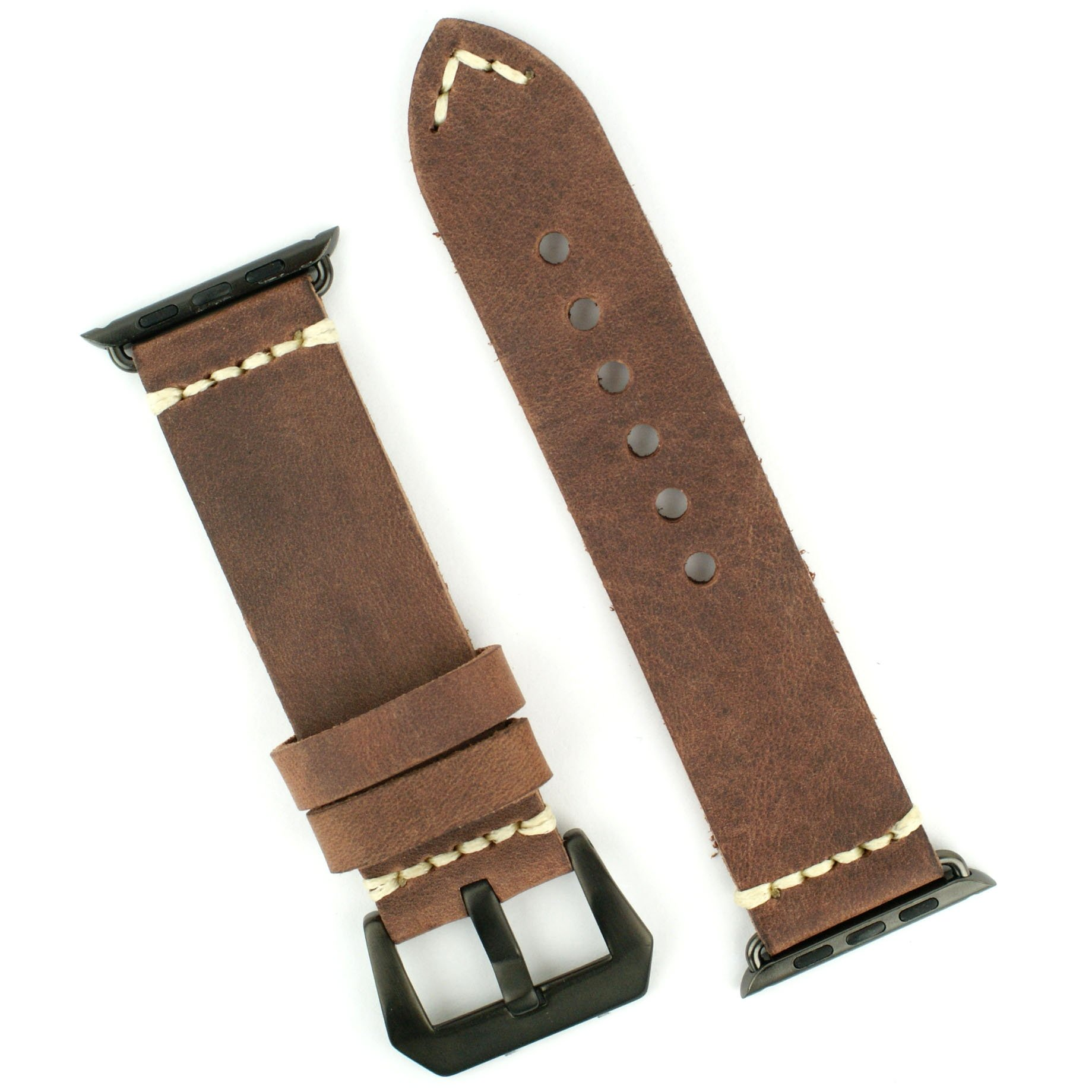APPLE WATCH BAND Replacement band for 42mm APPLE WATCH BLACK STAINLESS STEEL Handsewn Italian Leather Vintage Strap (Brown)