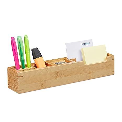 Amazon.com: Relaxdays - Organizador de escritorio de bambú ...