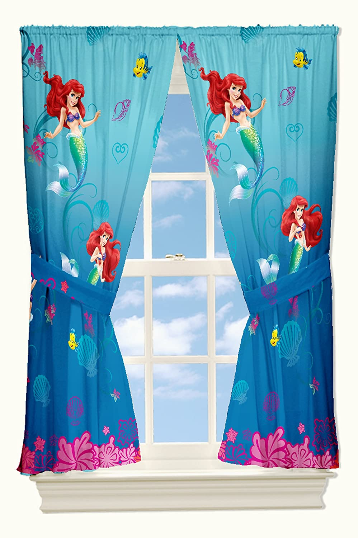Disney Little Mermaid Drapes Flower Swirls Window Curtains Amazoncouk Kitchen Home