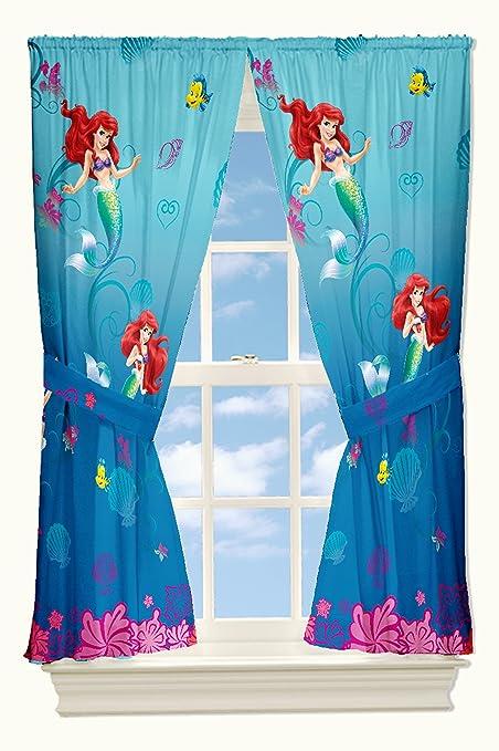 Disney Little Mermaid Drapes Flower Swirls Window Curtains