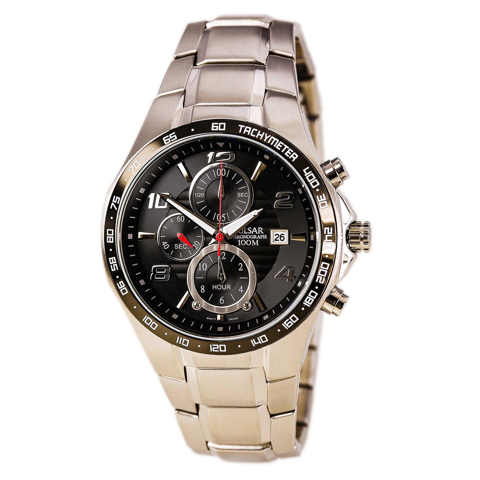 Pulsar by Seiko Mens Black Dial Quartz Chronograph Dress Bracelet Watch PF8373 by Pulsar