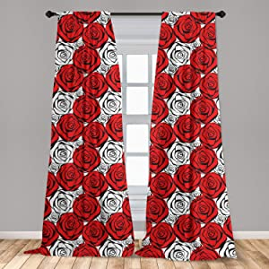 """Ambesonne Red and Black Curtains, Roses with Black Contours in Retro Style Feminine Nature Inspired, Window Treatments 2 Panel Set for Living Room Bedroom Decor, 56"""" x 84"""", Scarlet White"""