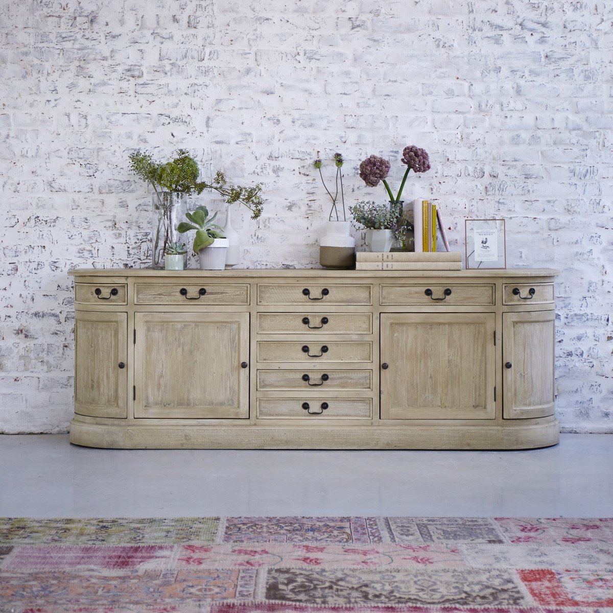 Tikamoon Solid Pine Sideboard Quality Natural Wood Furniture 225 cm Living Room Kitchen