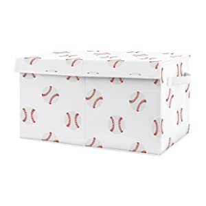 Sweet Jojo Designs Red and White Sports Boy Baby Nursery or Kids Room Small Fabric Toy Bin Storage Box Chest for Baseball Patch Collection