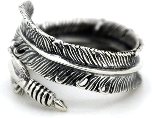 Serebra Jewelry Plume Bague Antique en Argent Sterling 925 Taille R/églable by